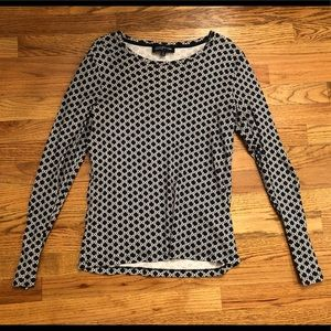 Navy and White Patterned Long Sleeved Shirt